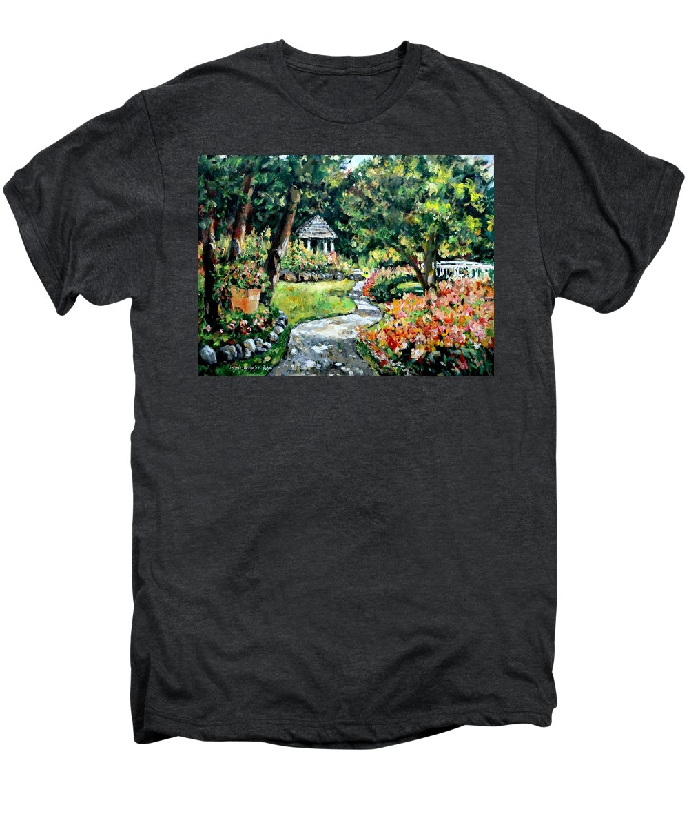 Landscape Men's Premium T-Shirt featuring the painting La Paloma Gardens by Alexandra Maria Ethlyn Cheshire
