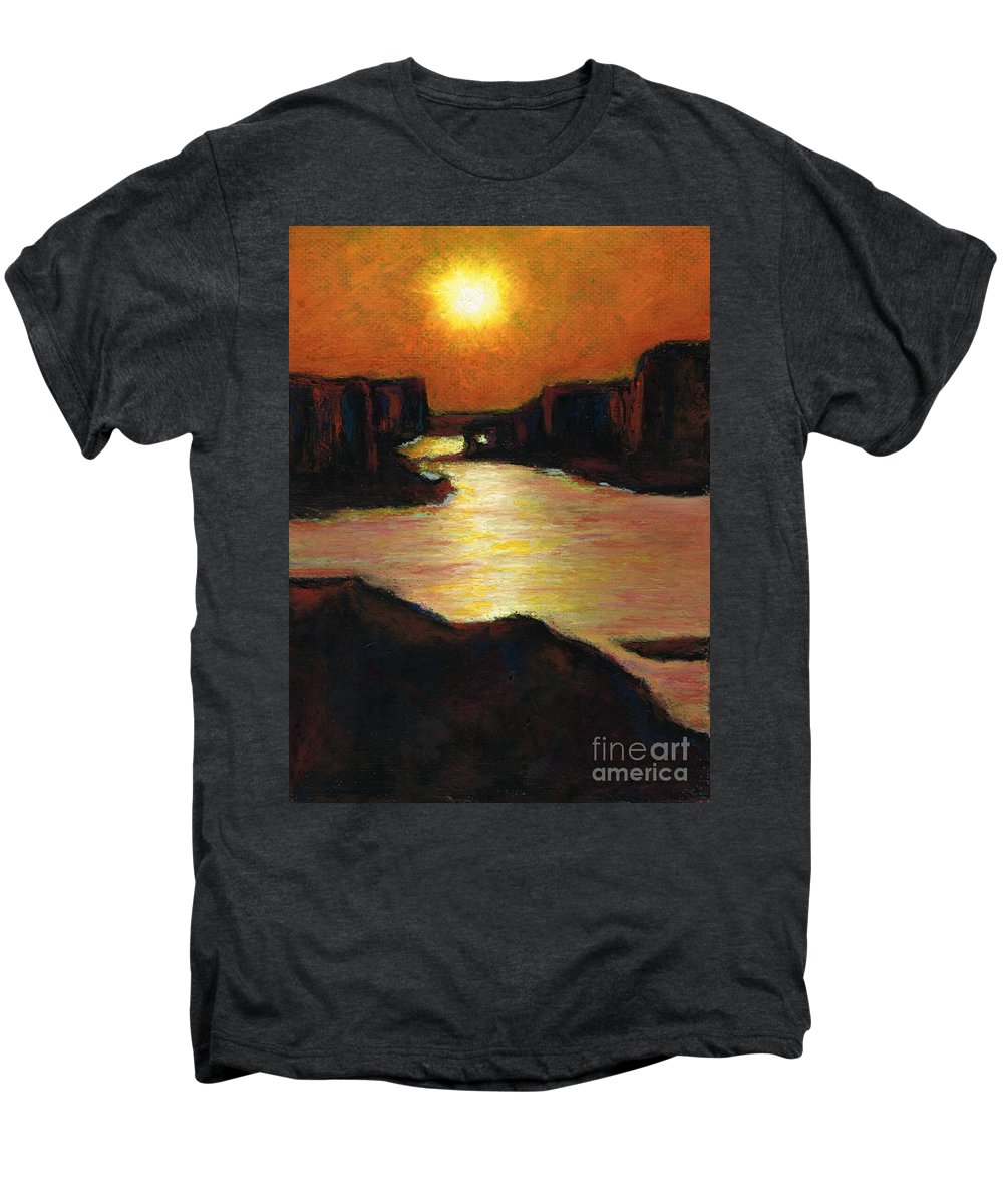 Lake Powell Men's Premium T-Shirt featuring the painting Lake Powell At Sunset by Frances Marino