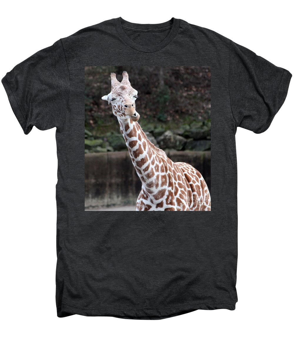Laughing Giraffe Men's Premium T-Shirt featuring the photograph Laughter by Amanda Barcon