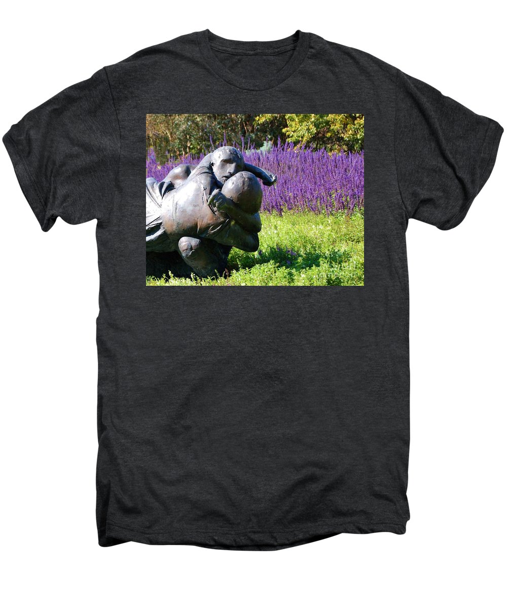 Statue Men's Premium T-Shirt featuring the photograph Lavender Lovers by Debbi Granruth