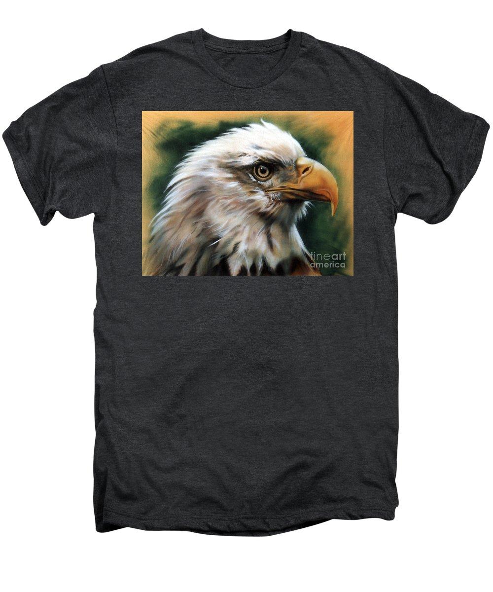 Southwest Art Men's Premium T-Shirt featuring the painting Leather Eagle by J W Baker