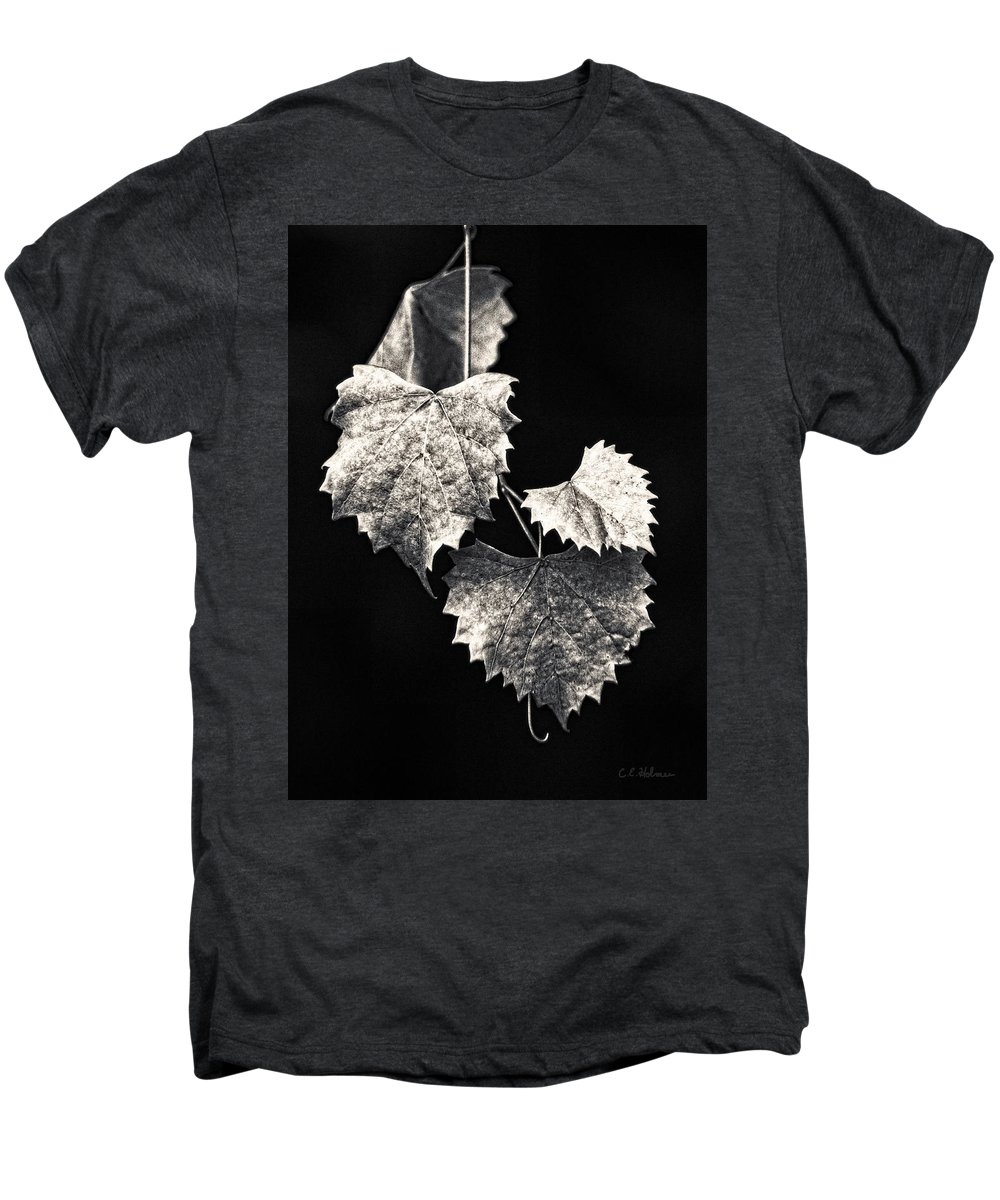 B&w Men's Premium T-Shirt featuring the photograph Leaves by Christopher Holmes