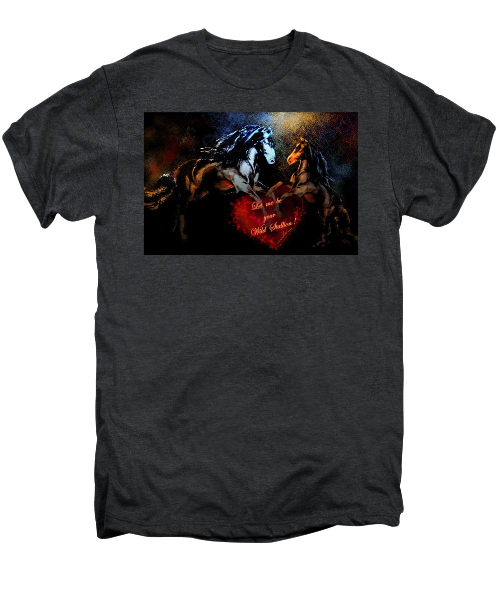 Love Men's Premium T-Shirt featuring the painting Let Me Be Your Wild Stallion by Miki De Goodaboom