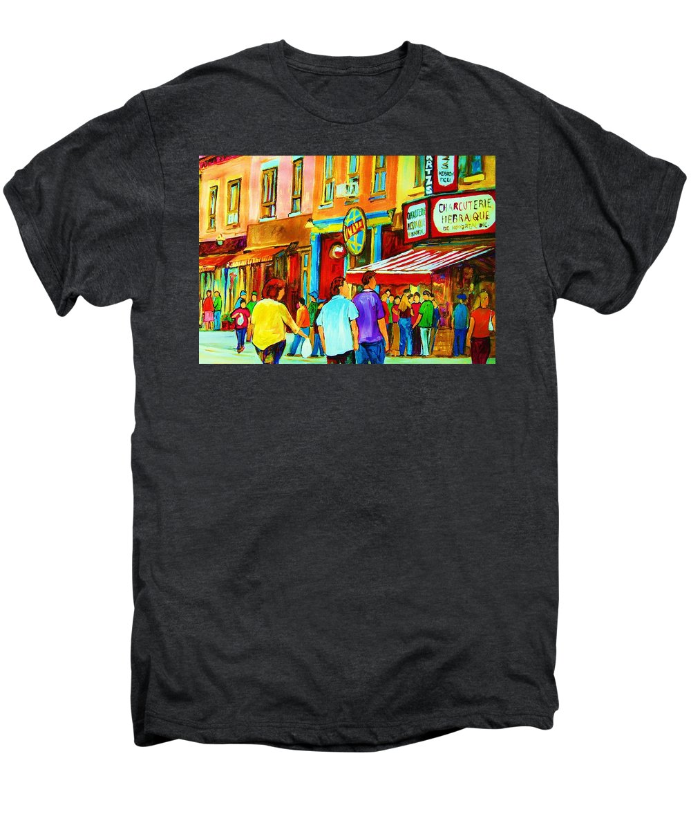 Cityscape Men's Premium T-Shirt featuring the painting Lets Meet For Lunch by Carole Spandau