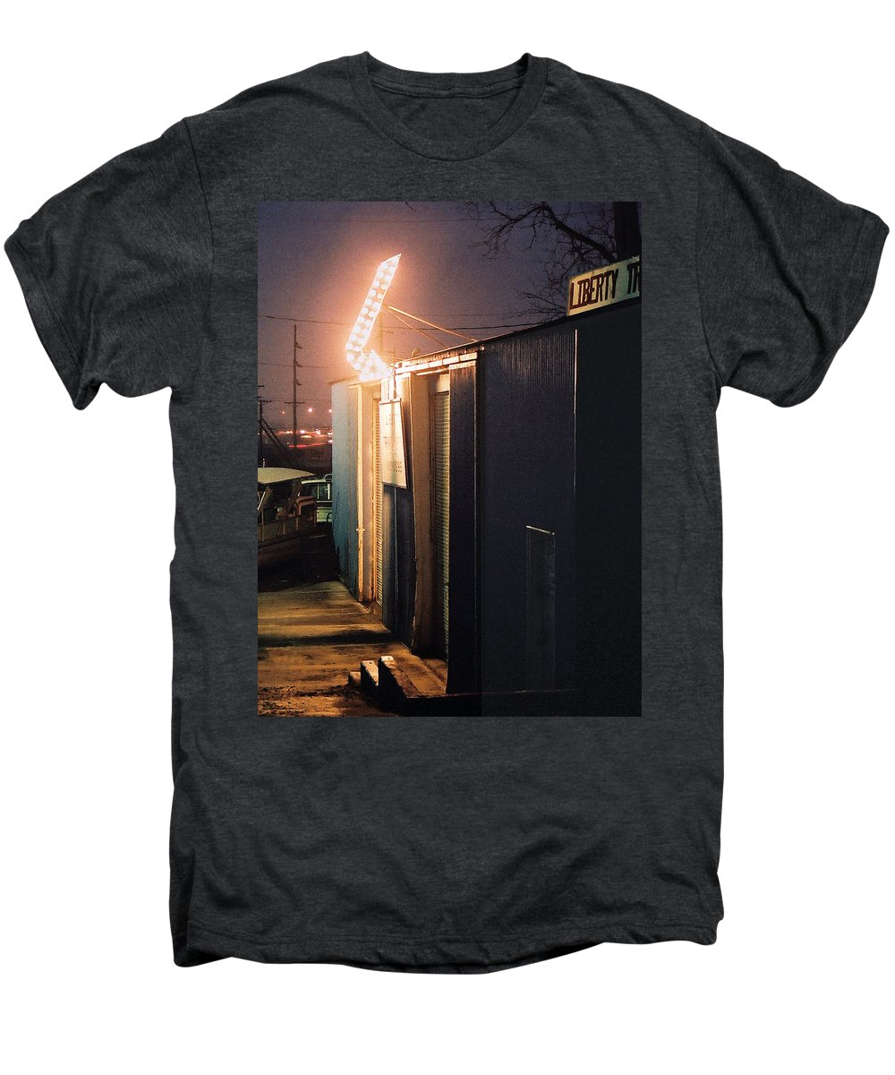 Night Scene Men's Premium T-Shirt featuring the photograph Liberty by Steve Karol