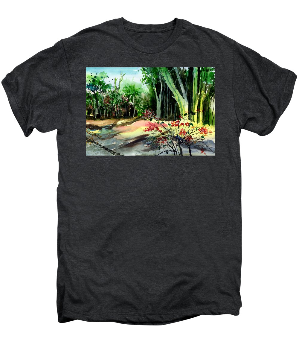 Watercolor Men's Premium T-Shirt featuring the painting Light In The Woods by Anil Nene