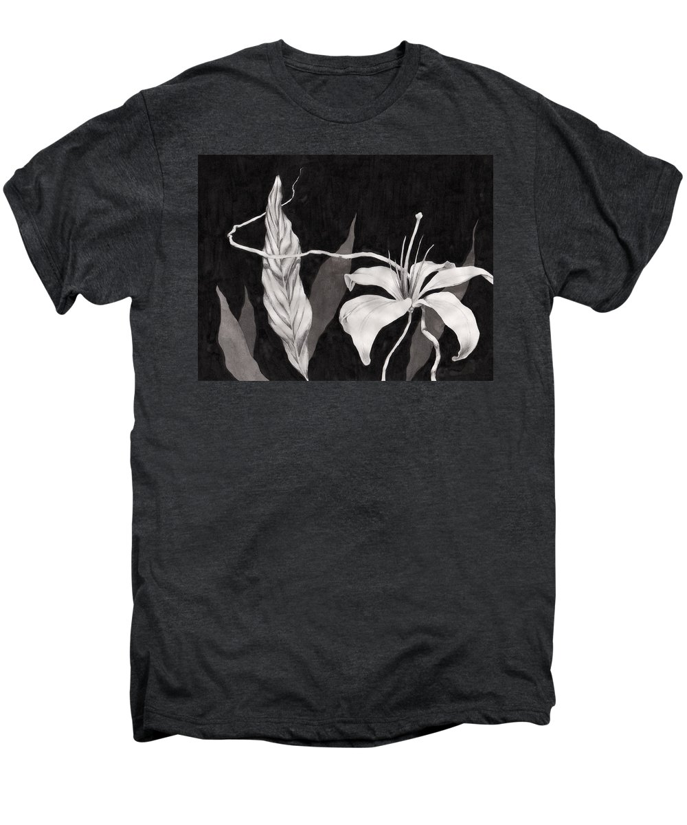 Ink Painting Men's Premium T-Shirt featuring the drawing Lily In The Night by Jennifer McDuffie