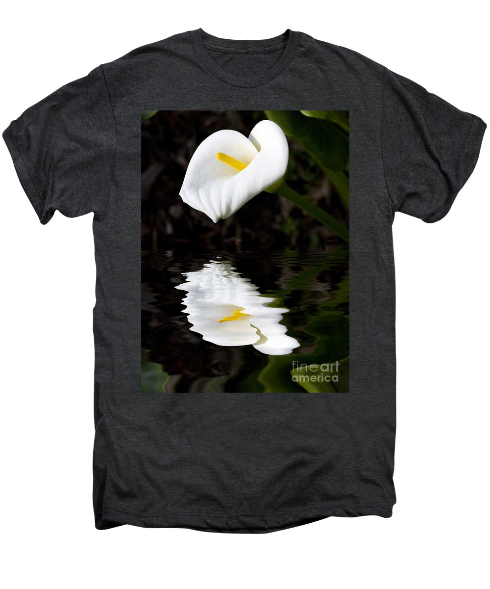 Lily Reflection Flora Flower Men's Premium T-Shirt featuring the photograph Lily Reflection by Avalon Fine Art Photography