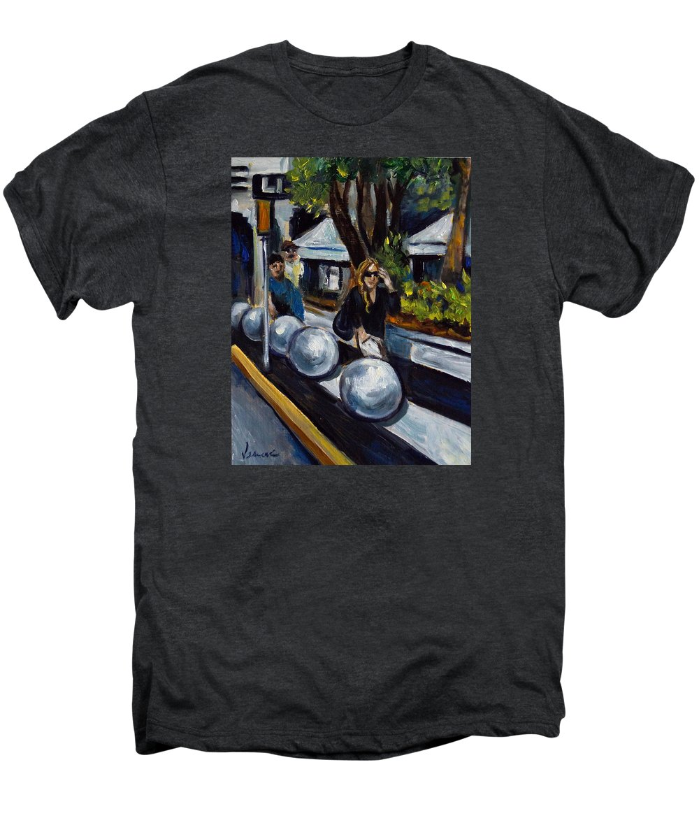 Shopping Men's Premium T-Shirt featuring the painting Lincoln Road by Valerie Vescovi