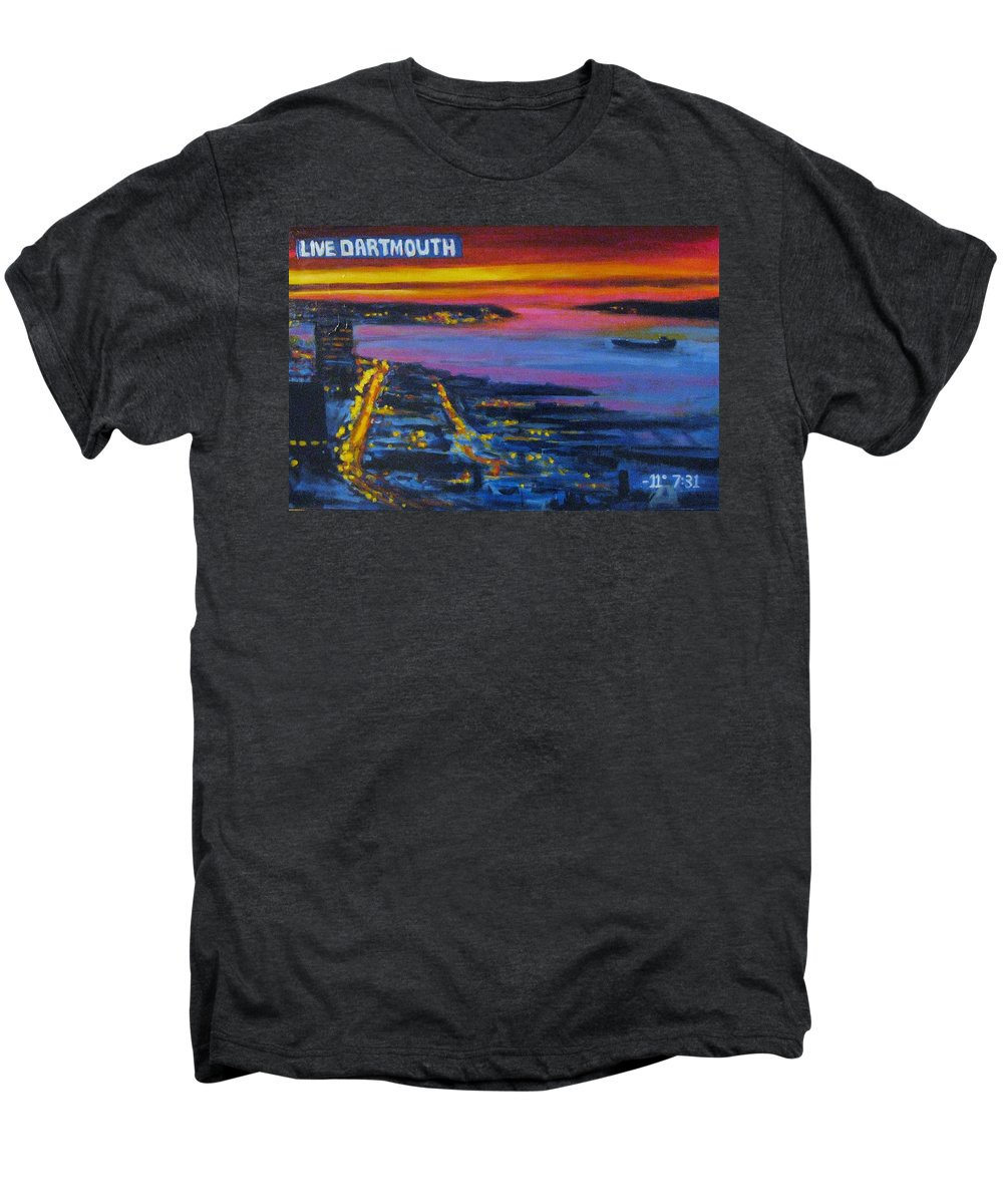 Night Scenes Men's Premium T-Shirt featuring the painting Live Eye Over Dartmouth Ns by John Malone