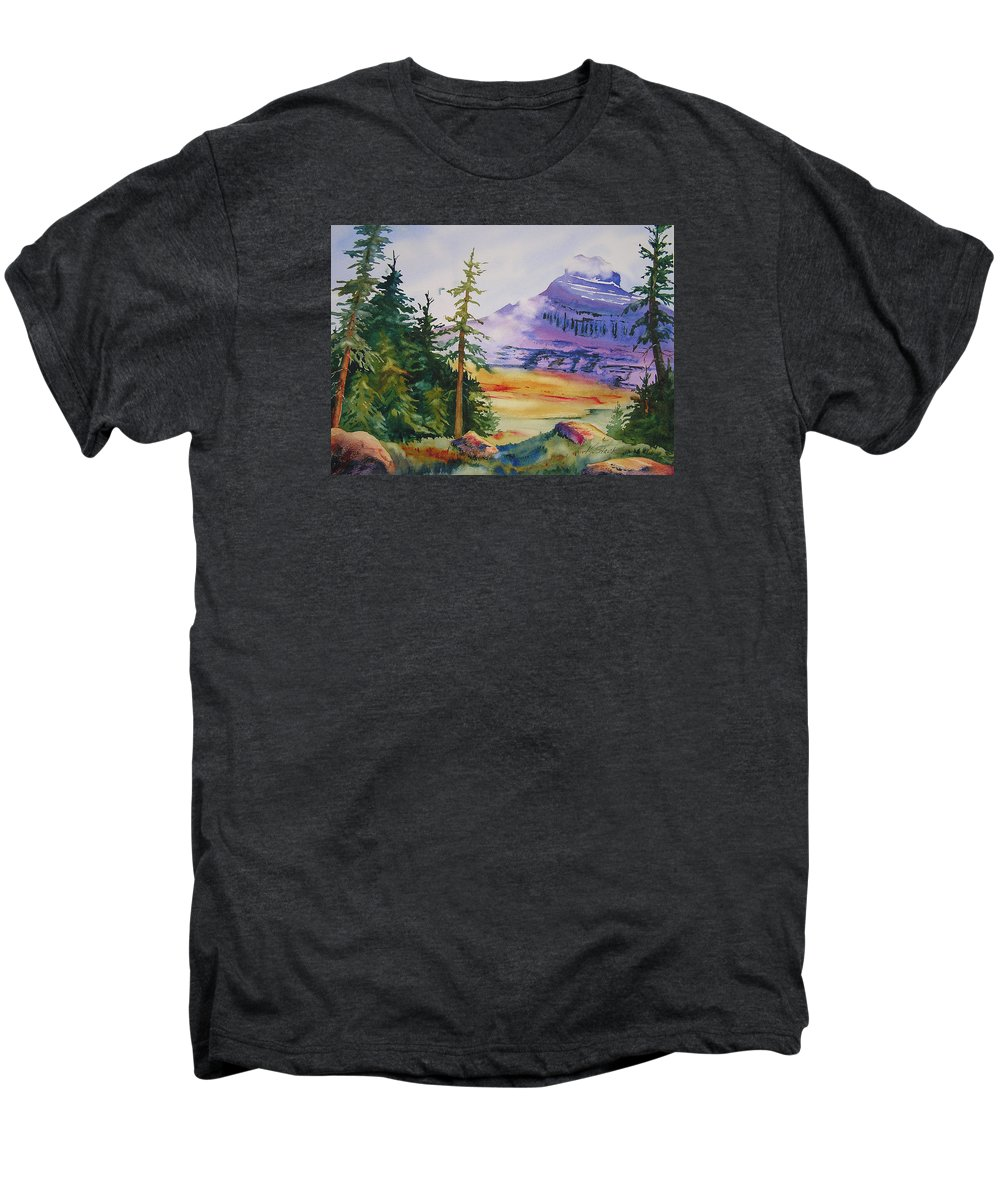 Landscape Men's Premium T-Shirt featuring the painting Logan Pass by Karen Stark