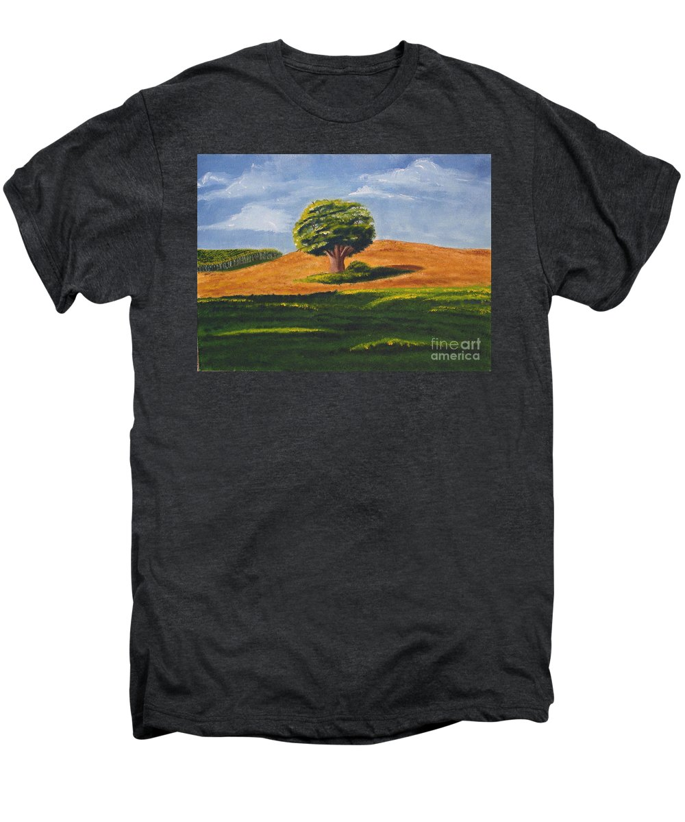 Tree Men's Premium T-Shirt featuring the painting Lone Tree by Mendy Pedersen