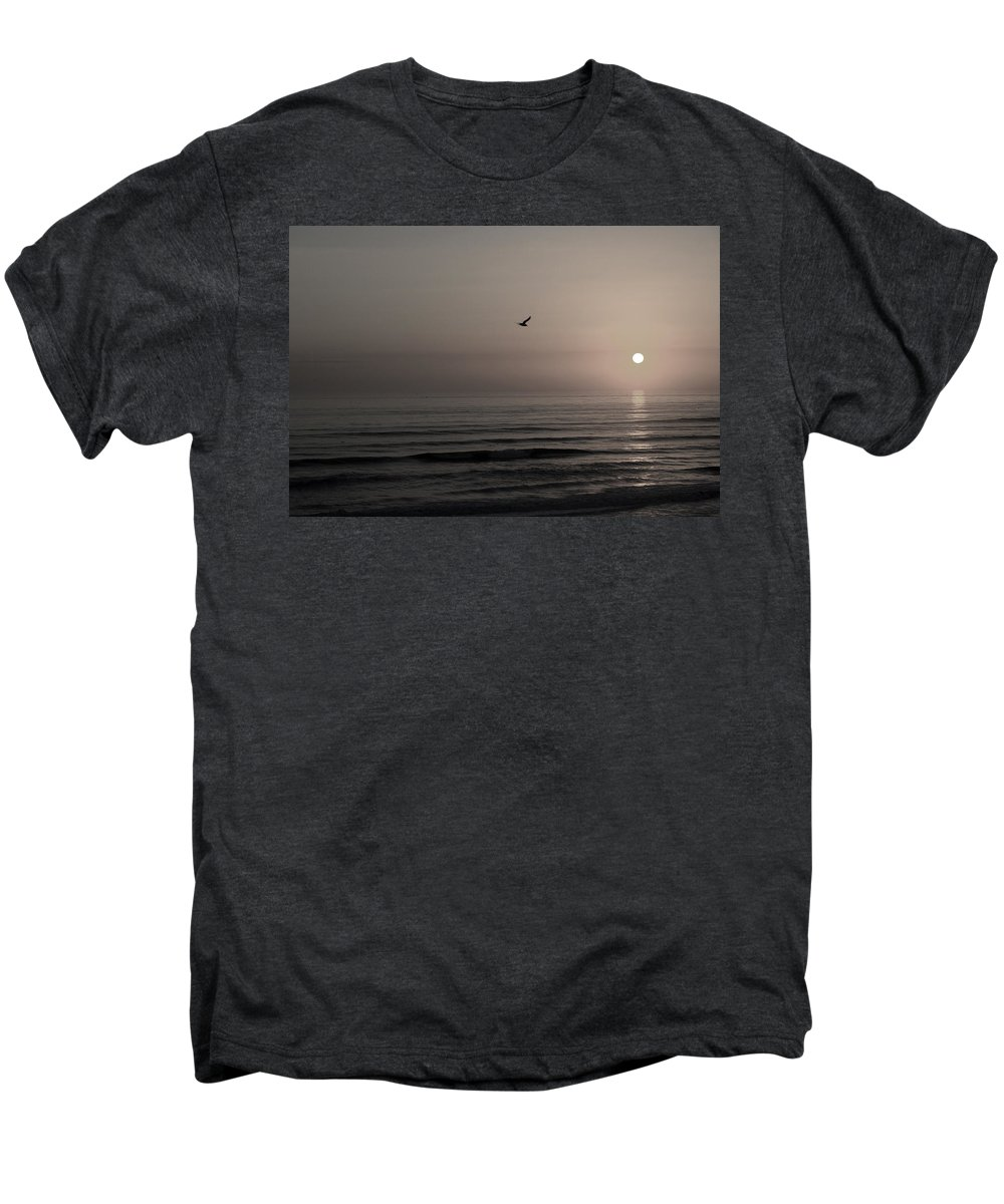 Beach Ocean Wave Sunrise Sunset Sun Bird Gull Fly Flight Water Vacation Peace Nature Relax Peace Men's Premium T-Shirt featuring the photograph Lonely Flight II by Andrei Shliakhau
