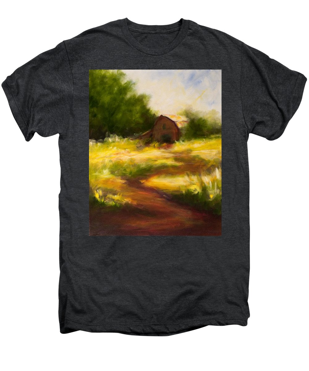 Landscape Men's Premium T-Shirt featuring the painting Long Road Home by Shannon Grissom