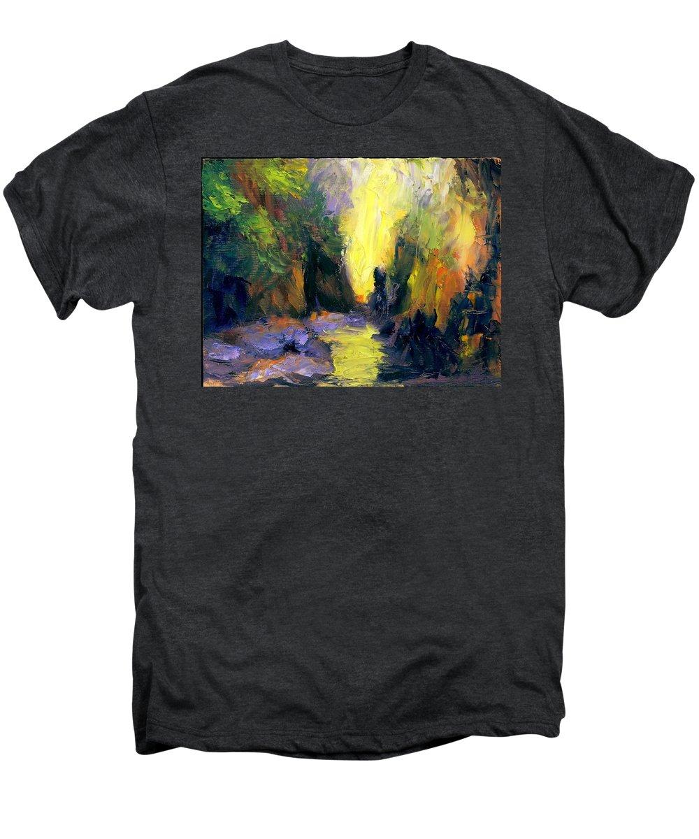 Landscape Men's Premium T-Shirt featuring the painting Lost Creek by Gail Kirtz