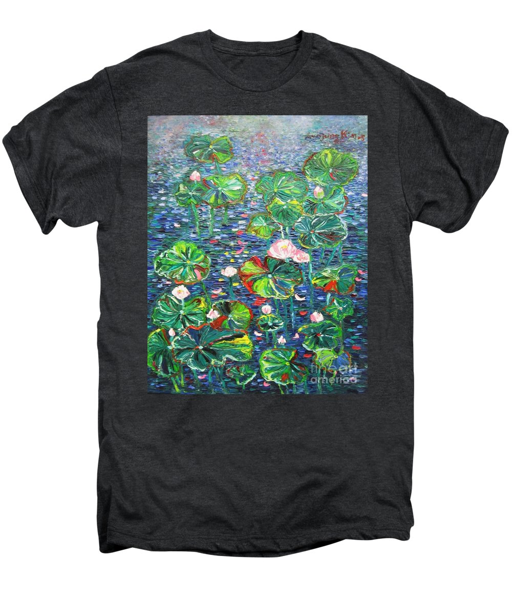 Water Lily Paintings Men's Premium T-Shirt featuring the painting Lotus Flower Water Lily Lily Pads Painting by Seon-Jeong Kim
