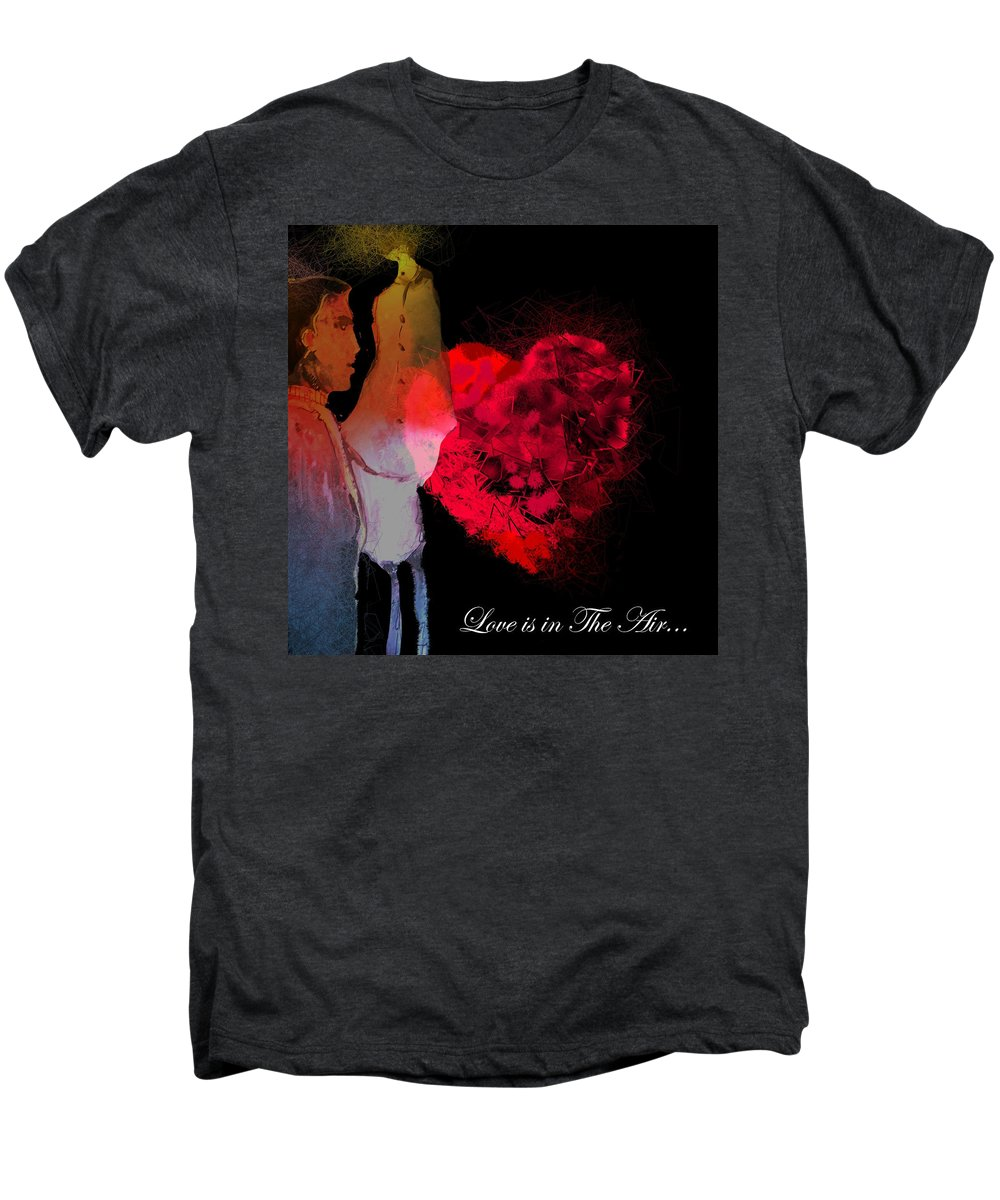 Love Men's Premium T-Shirt featuring the painting Love Is In The Air by Miki De Goodaboom