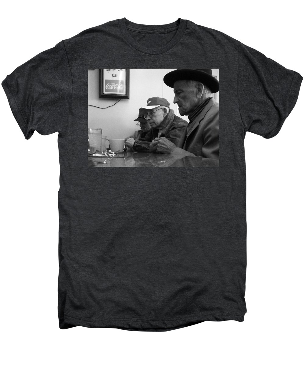 Diner Men's Premium T-Shirt featuring the photograph Lunch Counter Boys - Black And White by Tim Nyberg