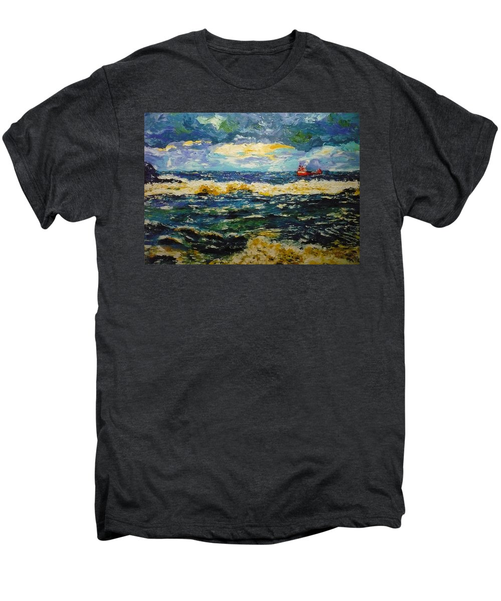 Sea Men's Premium T-Shirt featuring the painting Mad Sea by Ericka Herazo