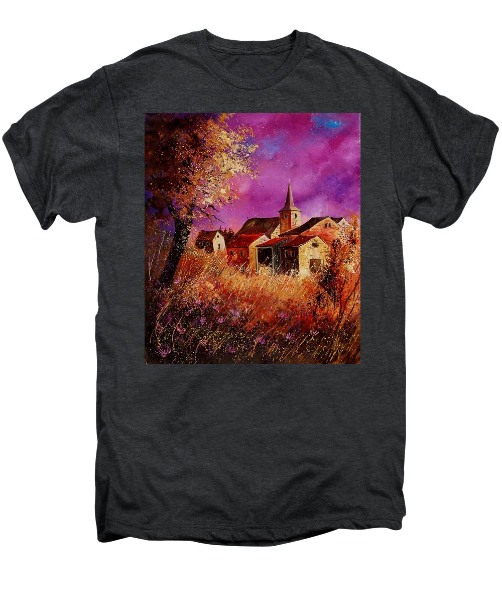 Landscape Men's Premium T-Shirt featuring the painting Magic Autumn by Pol Ledent