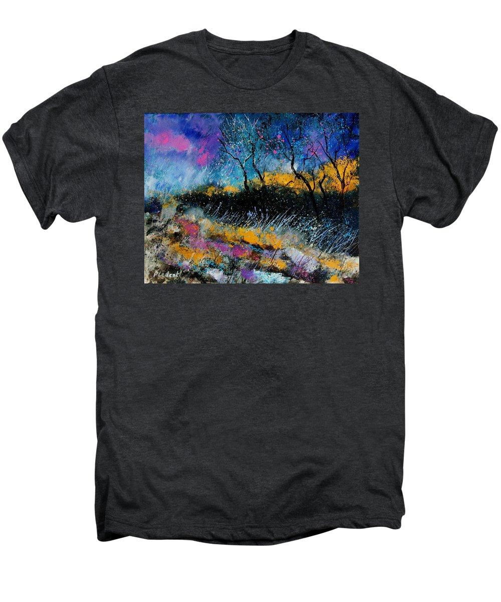 Landscape Men's Premium T-Shirt featuring the painting Magic Morning Light by Pol Ledent