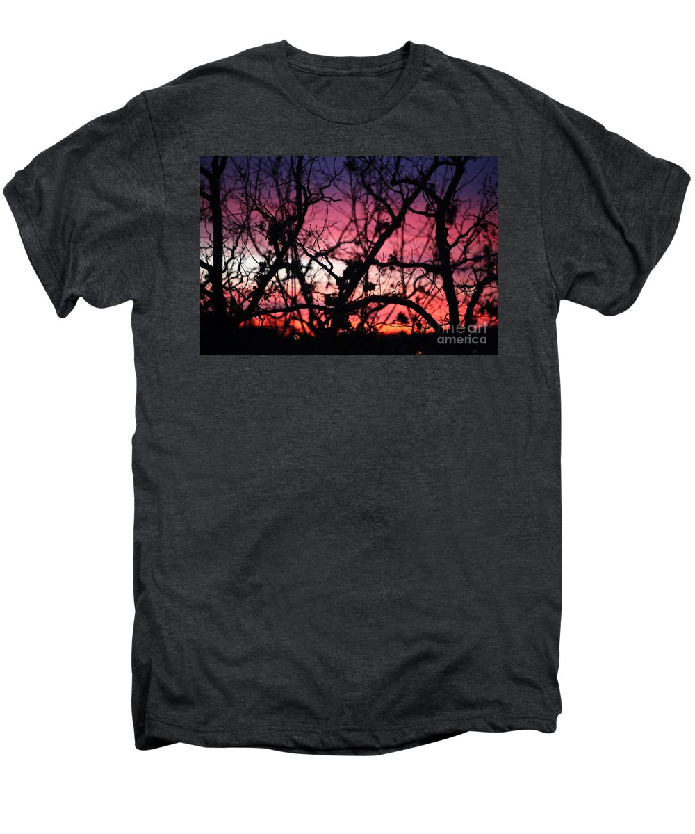 Sunset Men's Premium T-Shirt featuring the photograph Magnificent Sunset And Trees by Nadine Rippelmeyer