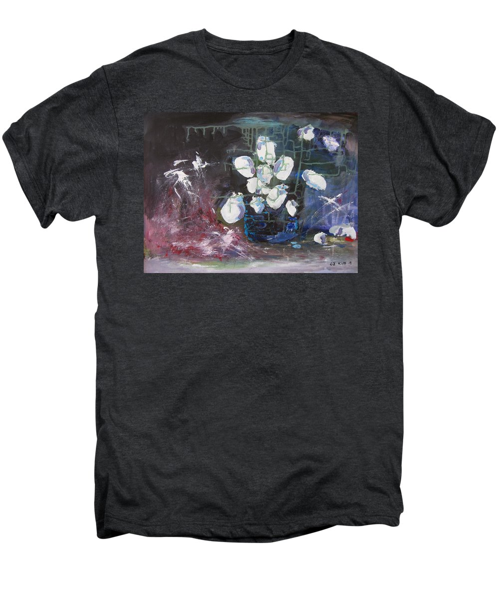 Abstract Paintings Men's Premium T-Shirt featuring the painting Magnolia by Seon-Jeong Kim