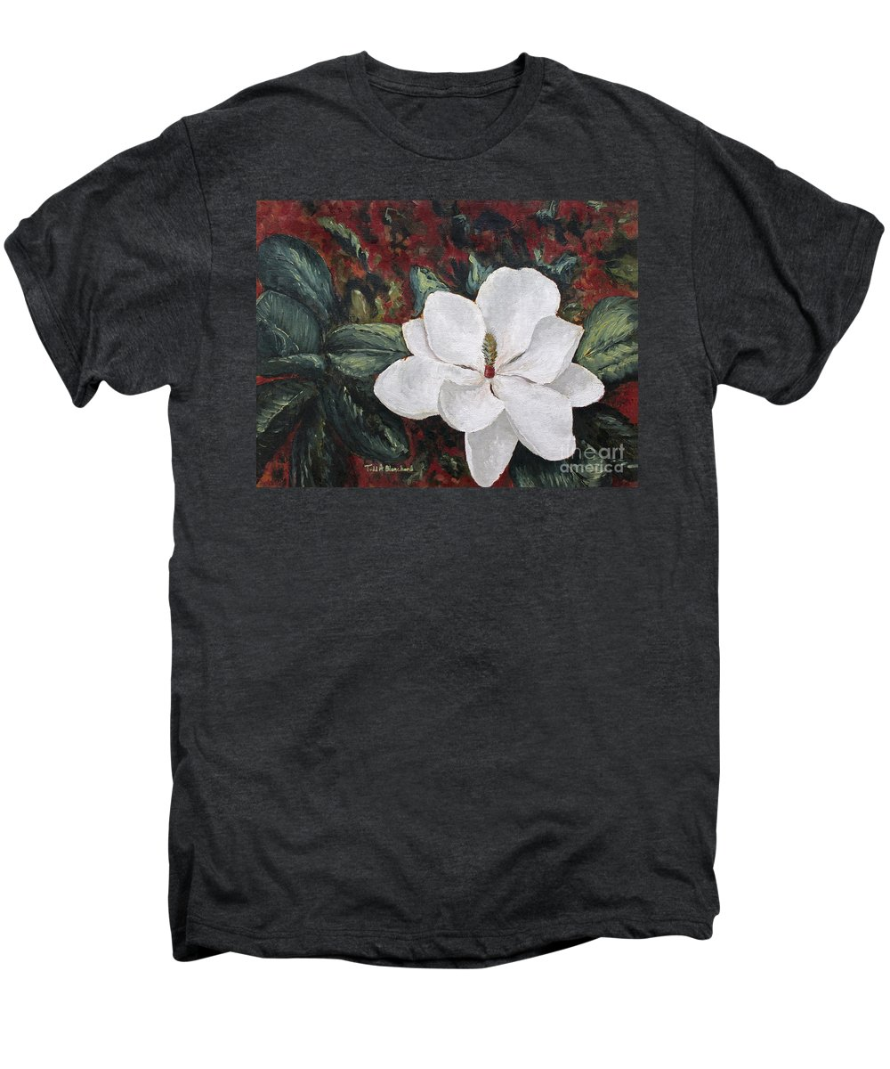 Flower Men's Premium T-Shirt featuring the painting Magnolia by Todd A Blanchard