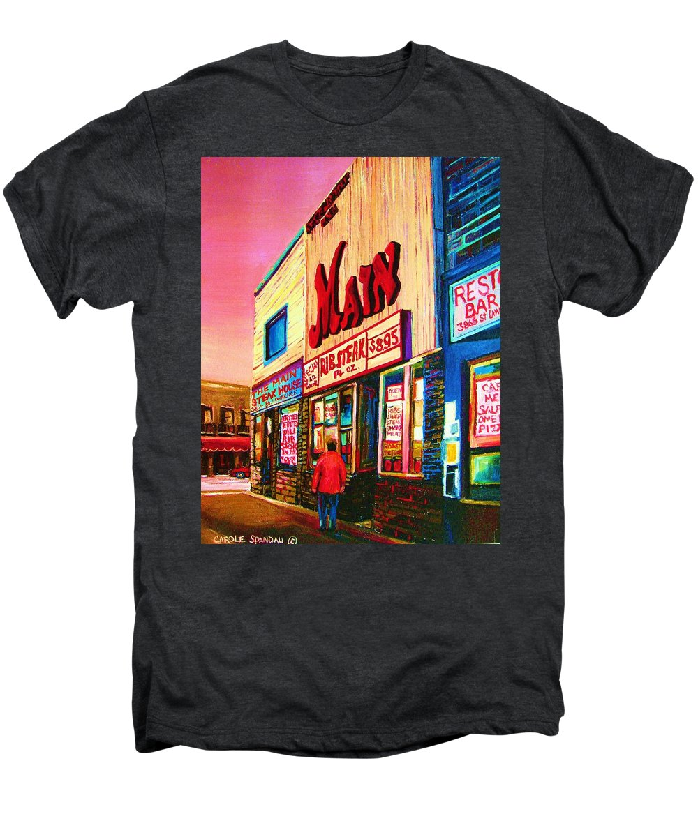 Montreal Men's Premium T-Shirt featuring the painting Main Steakhouse Blvd.st.laurent by Carole Spandau