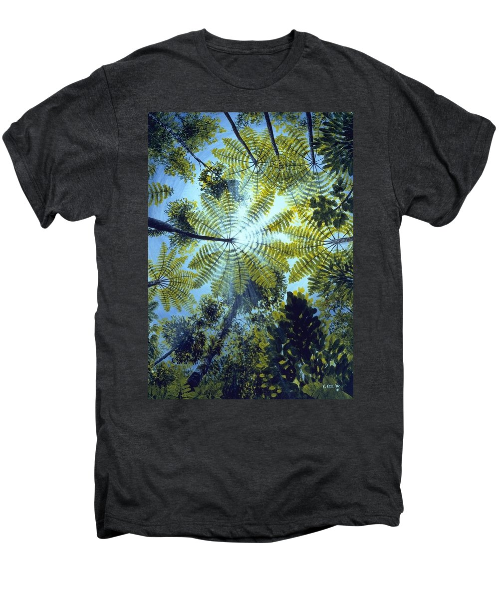 Chris Cox Men's Premium T-Shirt featuring the painting Majestic Treeferns by Christopher Cox