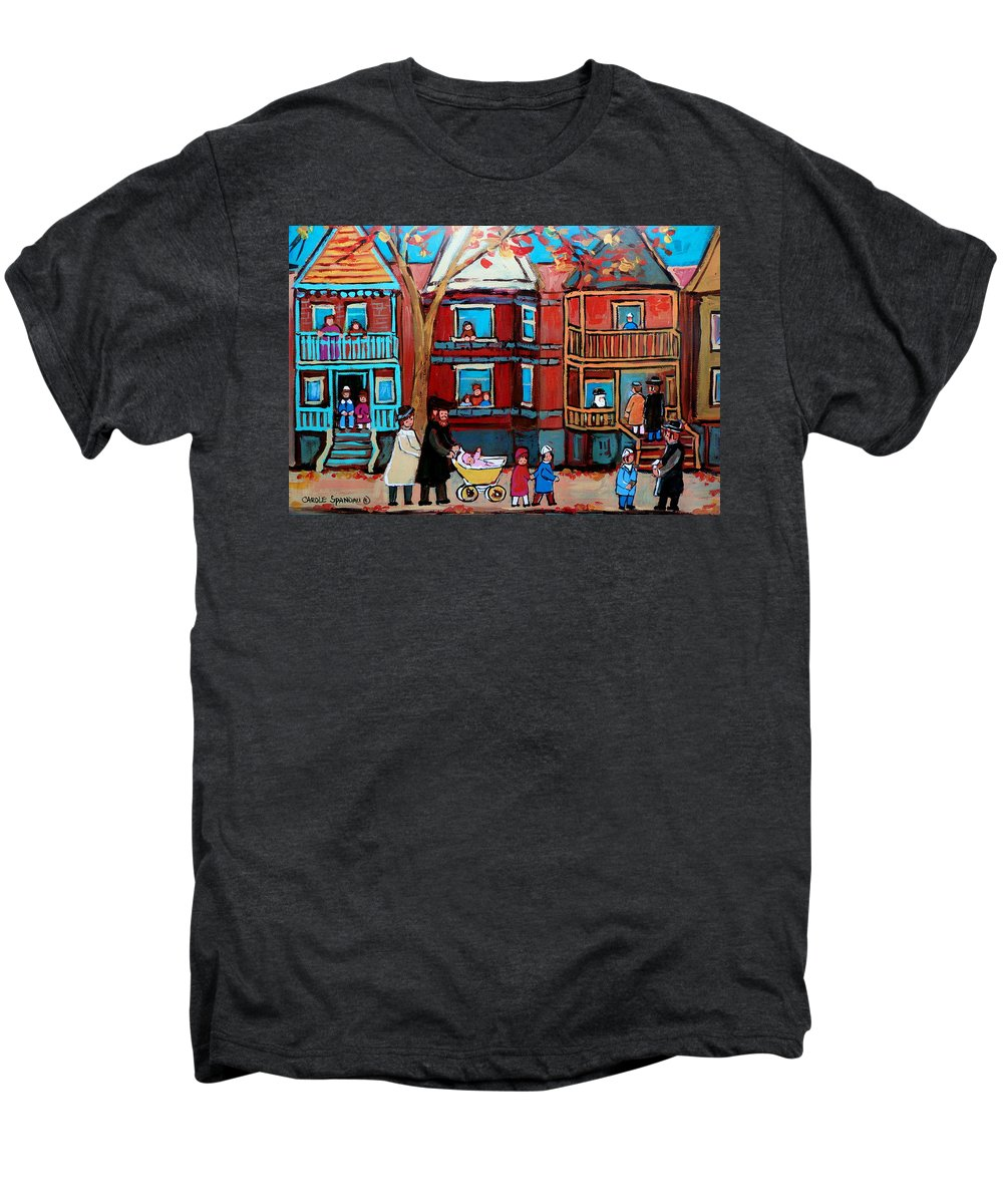 Hassidic Community Men's Premium T-Shirt featuring the painting Mama Papa And New Baby by Carole Spandau