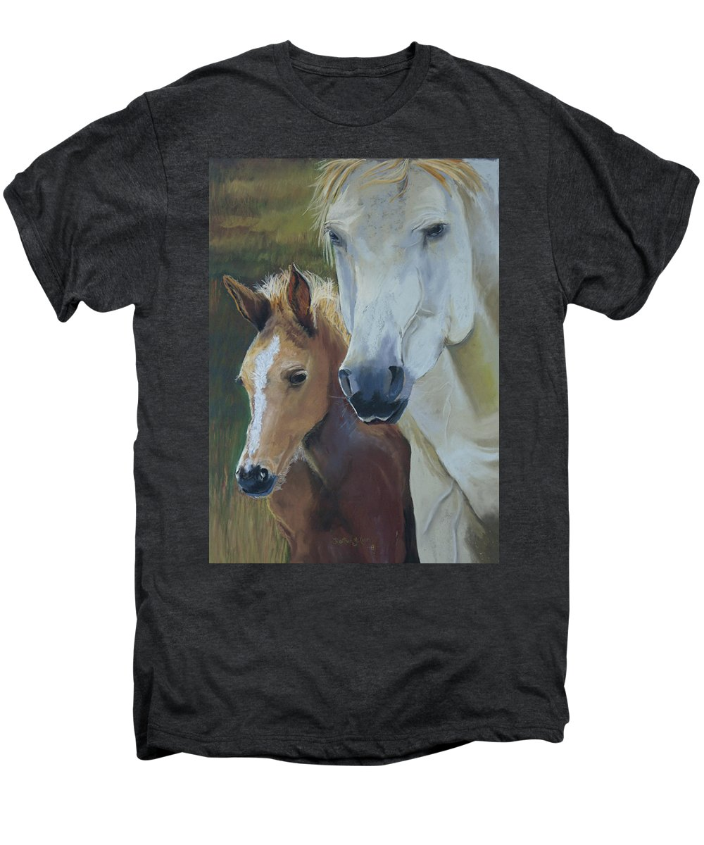 Horses Men's Premium T-Shirt featuring the painting Mama's Boy by Heather Coen