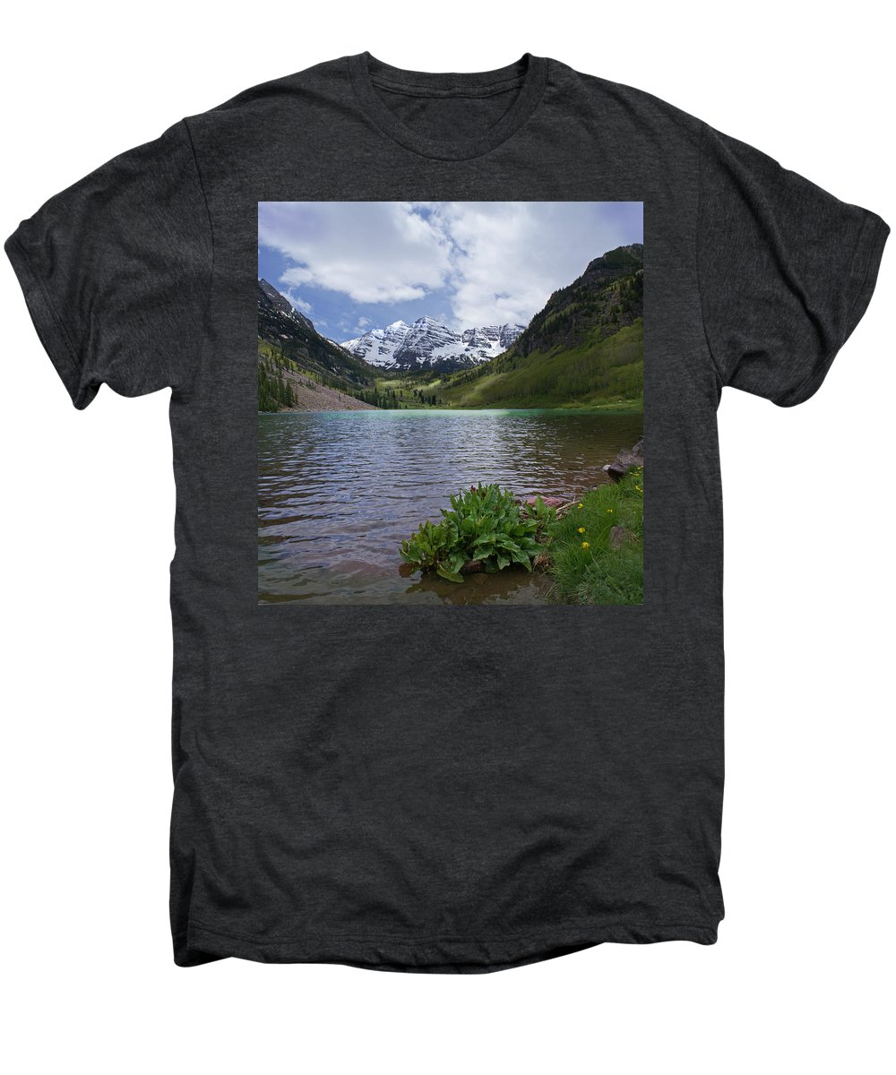 Aspen Men's Premium T-Shirt featuring the photograph Maroon Bells Spring by Heather Coen