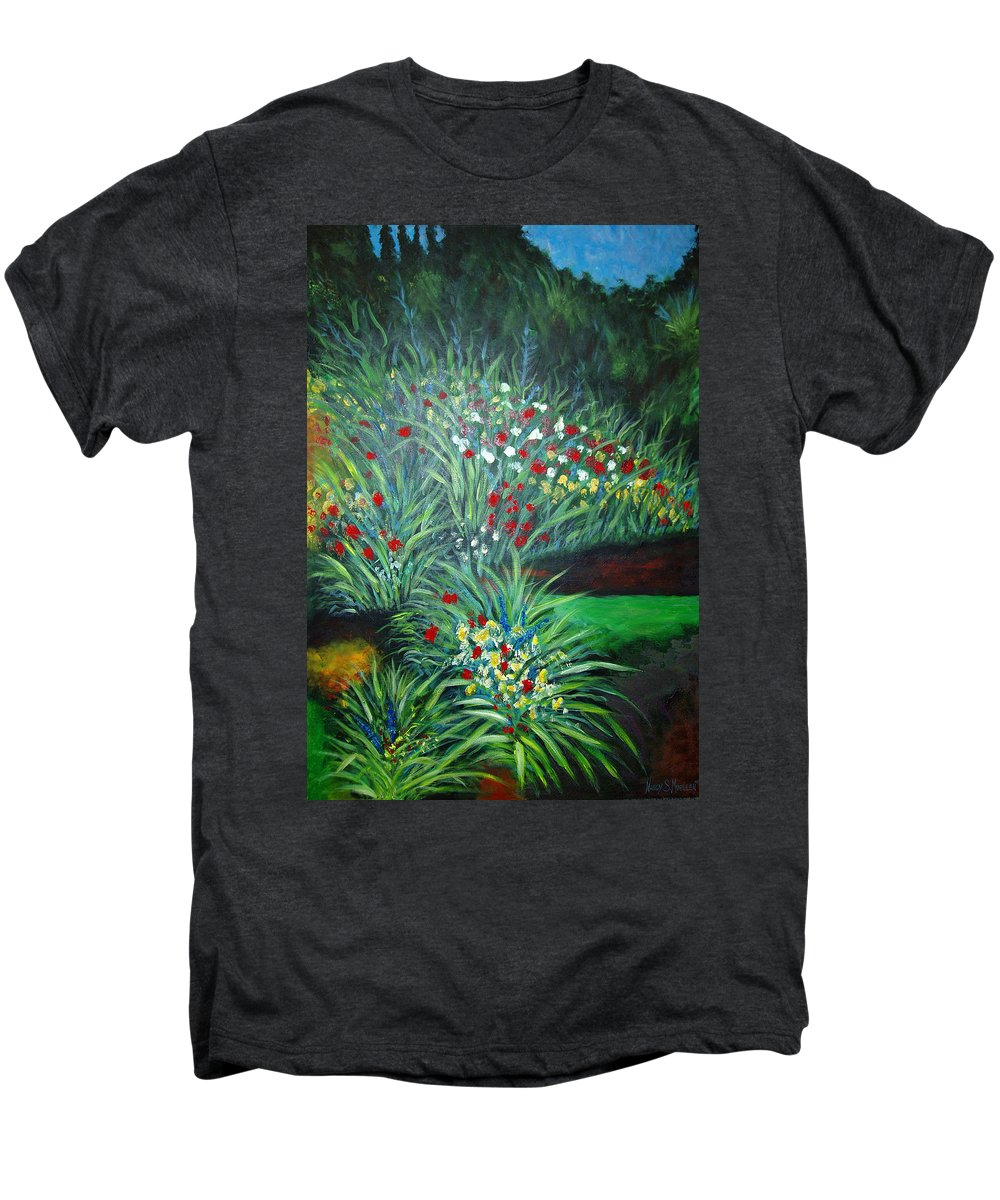 Landscape Men's Premium T-Shirt featuring the painting Maryann's Garden 3 by Nancy Mueller