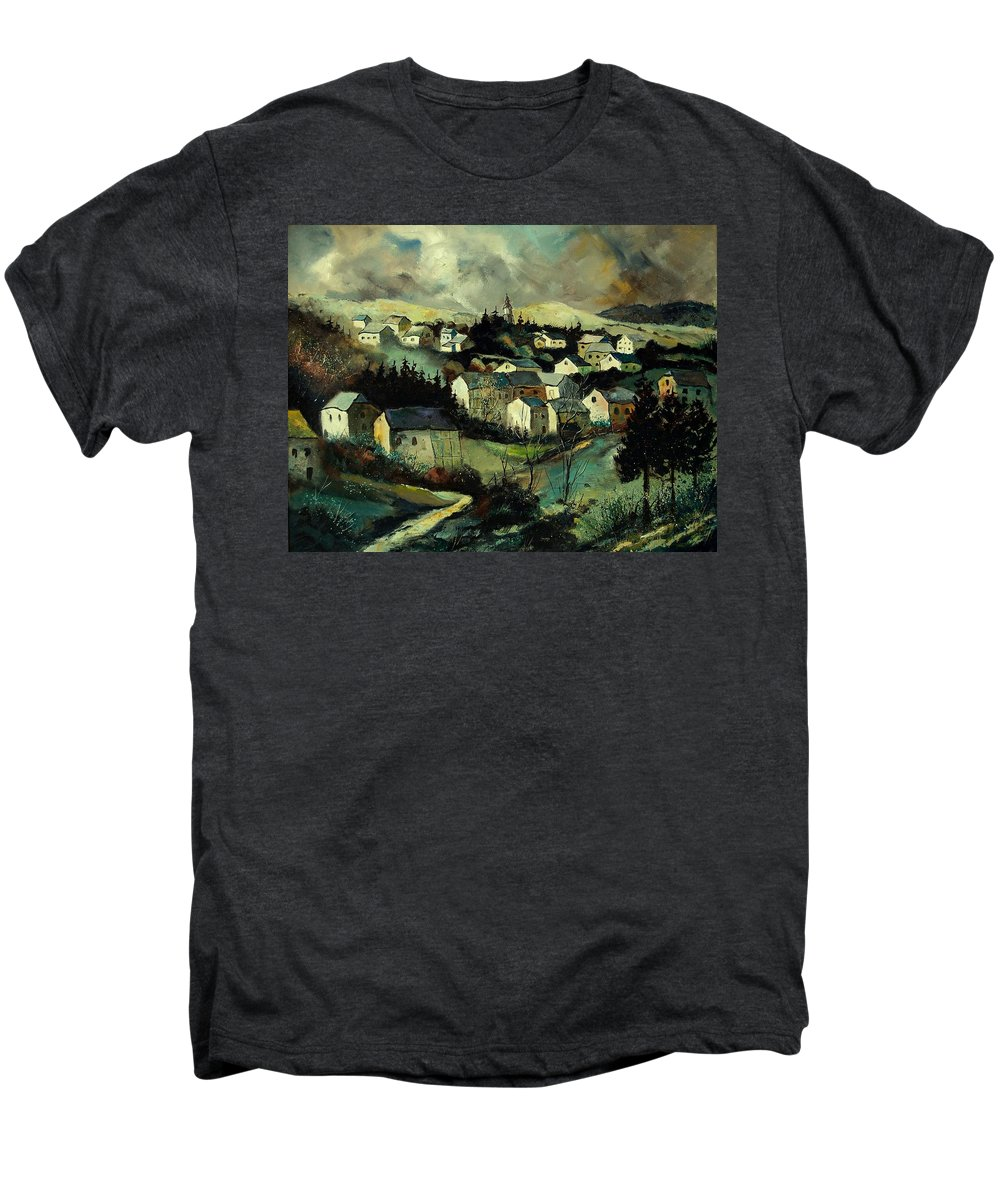 Winter Men's Premium T-Shirt featuring the painting Masbourg by Pol Ledent
