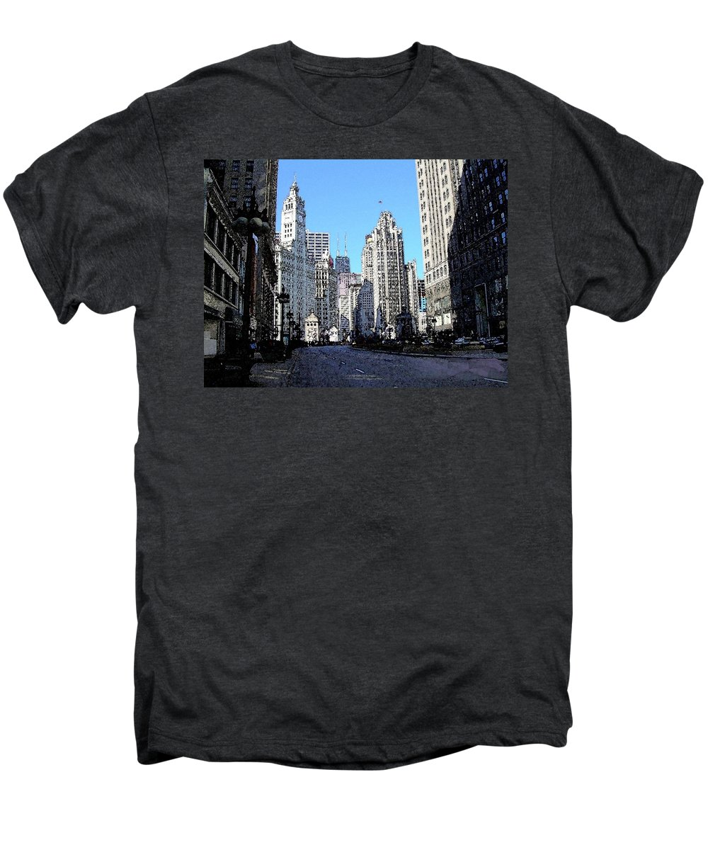 Chicago Men's Premium T-Shirt featuring the digital art Michigan Ave Wide by Anita Burgermeister