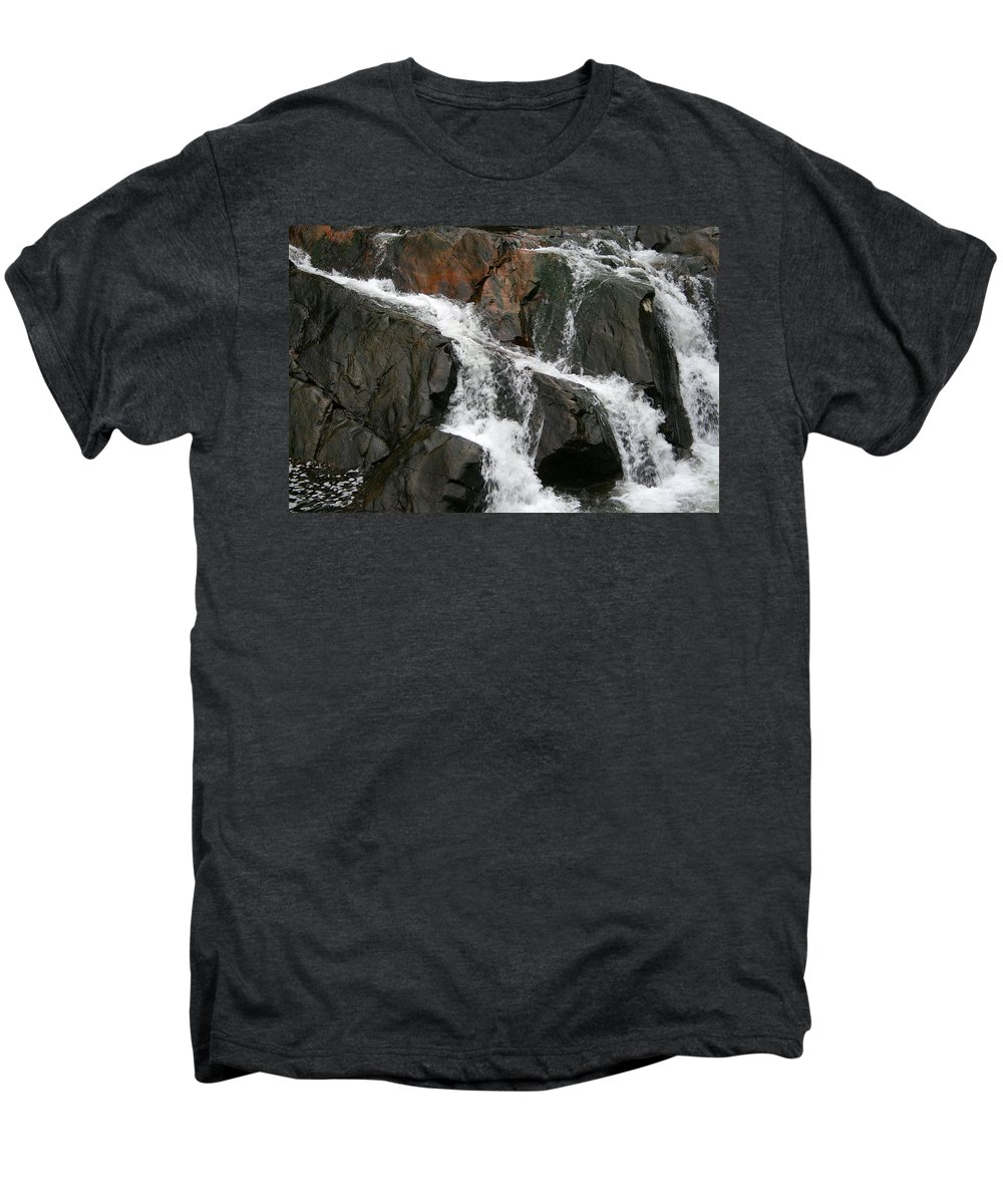 Water Waterfall Rush Rushing Cold River Creek Stream Rock Stone Wave White Wet Men's Premium T-Shirt featuring the photograph Might by Andrei Shliakhau