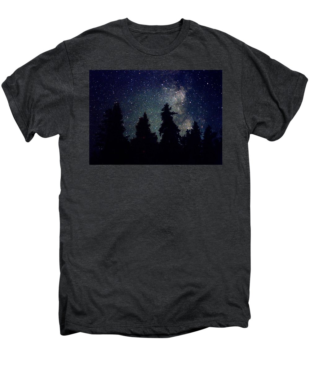 Milky Way Men's Premium T-Shirt featuring the photograph Milky Way Above Northern Forest 22 by Lyle Crump