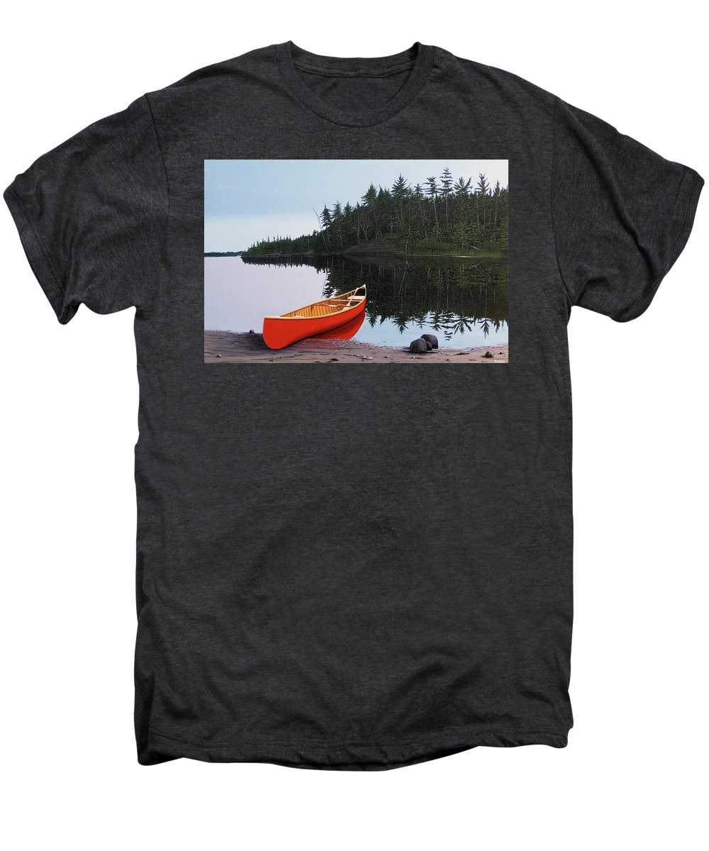 Landscapes Men's Premium T-Shirt featuring the painting Moments Of Peace by Kenneth M Kirsch