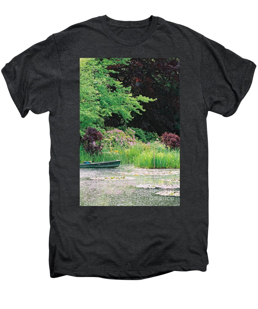 Monet Men's Premium T-Shirt featuring the photograph Monet's Garden Pond And Boat by Nadine Rippelmeyer
