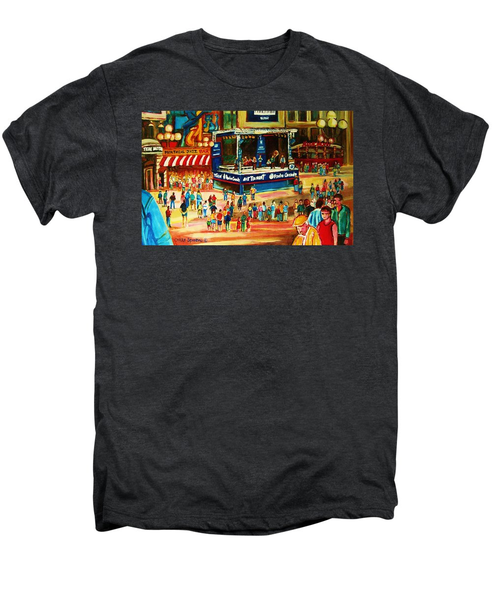 Montreal Men's Premium T-Shirt featuring the painting Montreal Jazz Festival by Carole Spandau