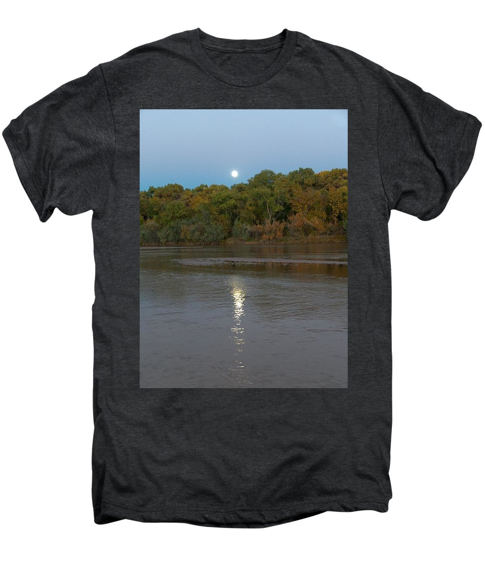 Moonlight Men's Premium T-Shirt featuring the photograph Moonlight On The Rio Grande by Tim McCarthy