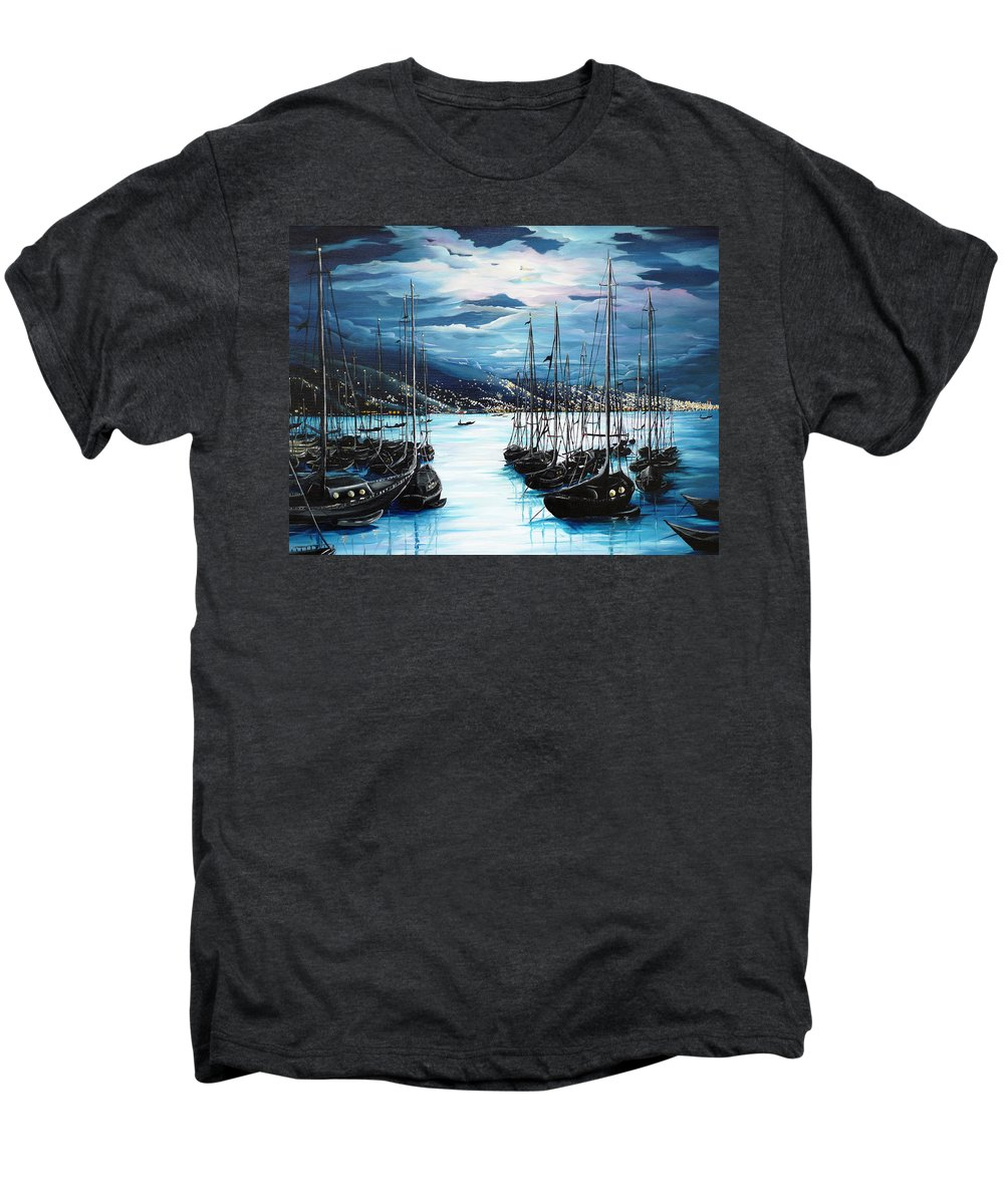 Ocean Painting  Caribbean Seascape Painting Moonlight Painting Yachts Painting Marina Moonlight Port Of Spain Trinidad And Tobago Painting Greeting Card Painting Men's Premium T-Shirt featuring the painting Moonlight Over Port Of Spain by Karin Dawn Kelshall- Best