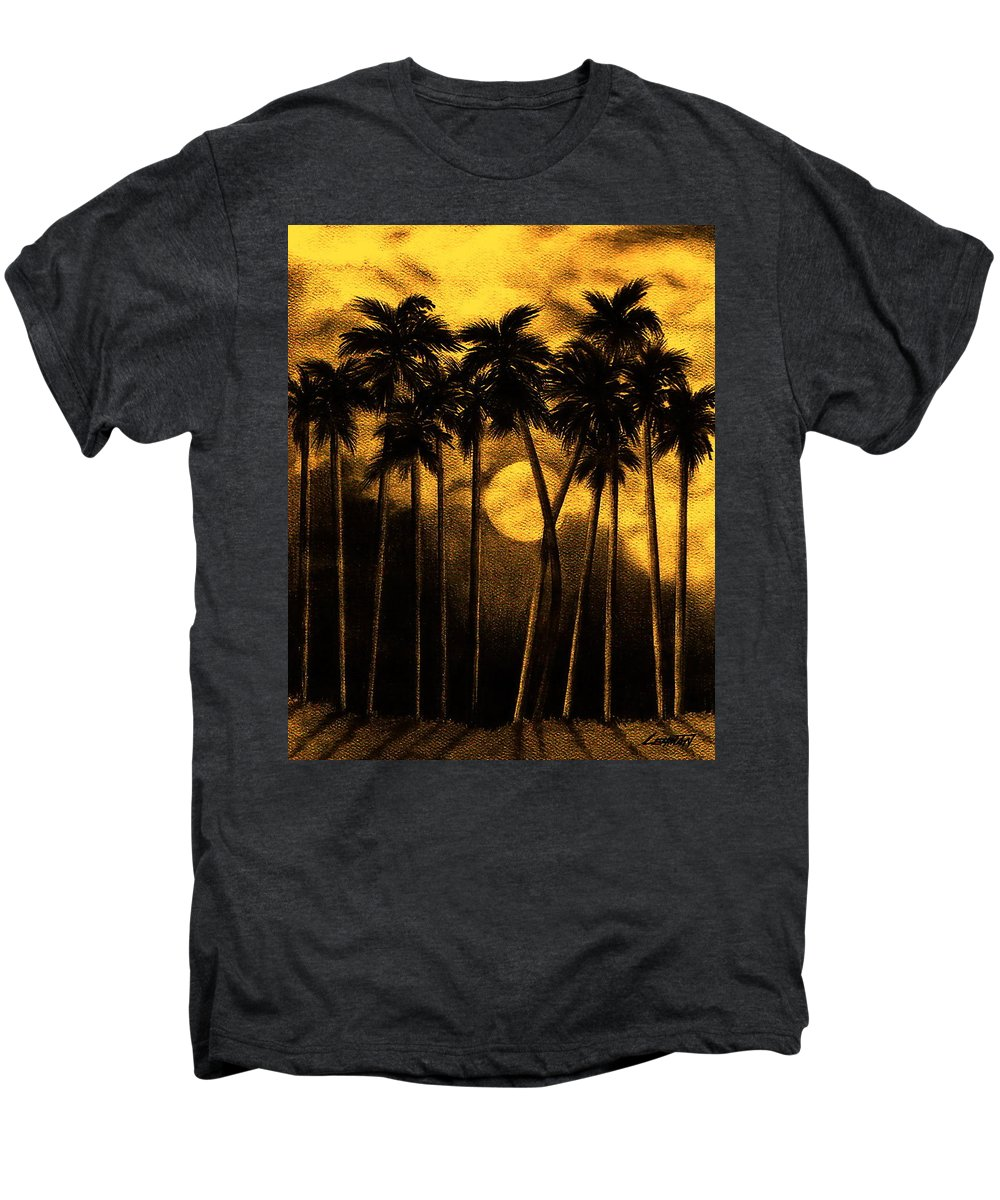Moonlit Palm Trees In Yellow Men's Premium T-Shirt featuring the mixed media Moonlit Palm Trees In Yellow by Larry Lehman