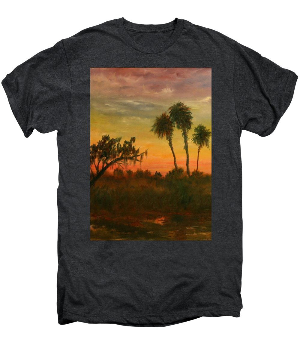 Palm Trees; Tropical; Marsh; Sunrise Men's Premium T-Shirt featuring the painting Morning Fog by Ben Kiger