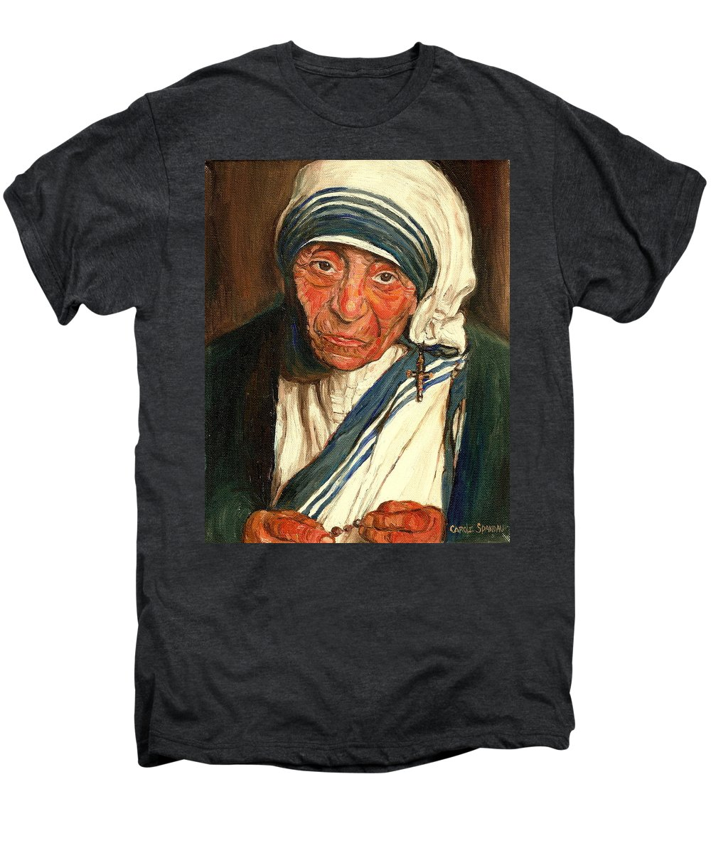 Mother Teresa Men's Premium T-Shirt featuring the painting Mother Teresa by Carole Spandau