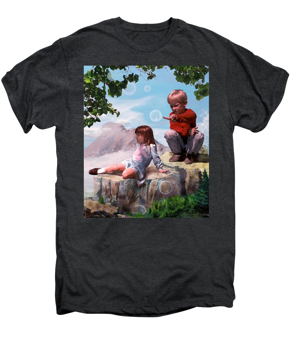 Landscape Men's Premium T-Shirt featuring the painting Mount Innocence by Steve Karol
