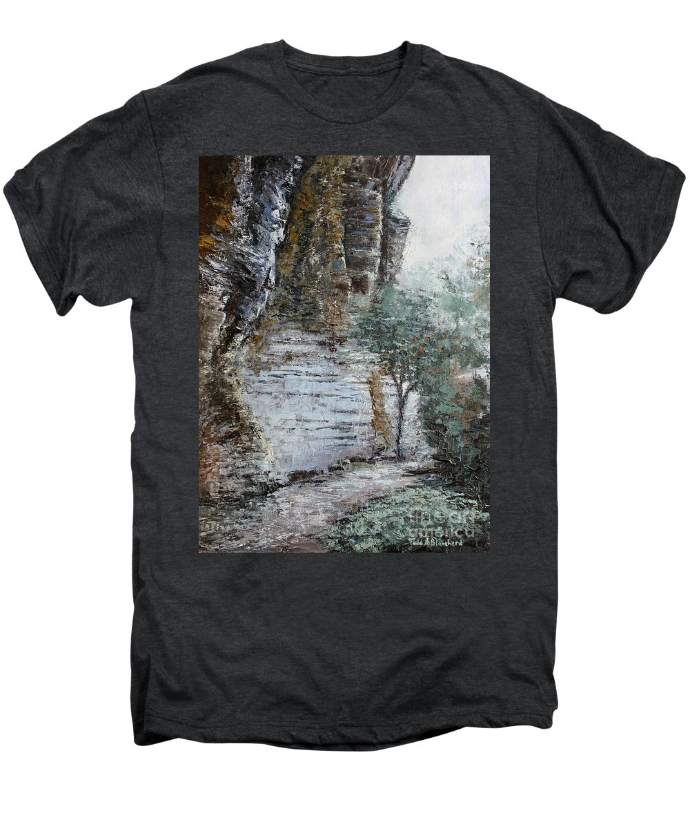 Landscape Men's Premium T-Shirt featuring the painting Mountain Pass by Todd A Blanchard