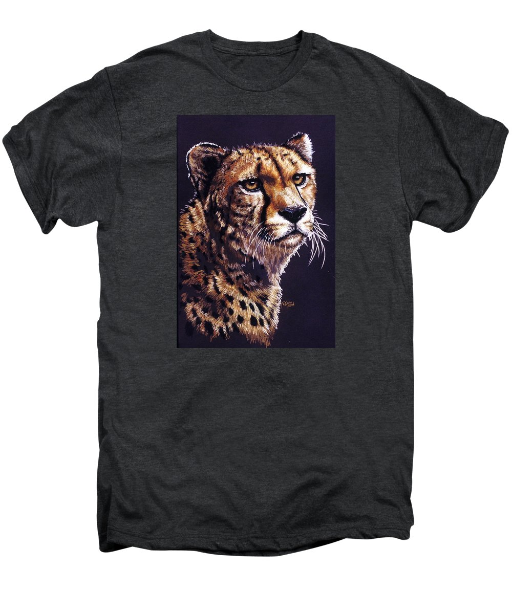 Cheetah Men's Premium T-Shirt featuring the drawing Movin On by Barbara Keith