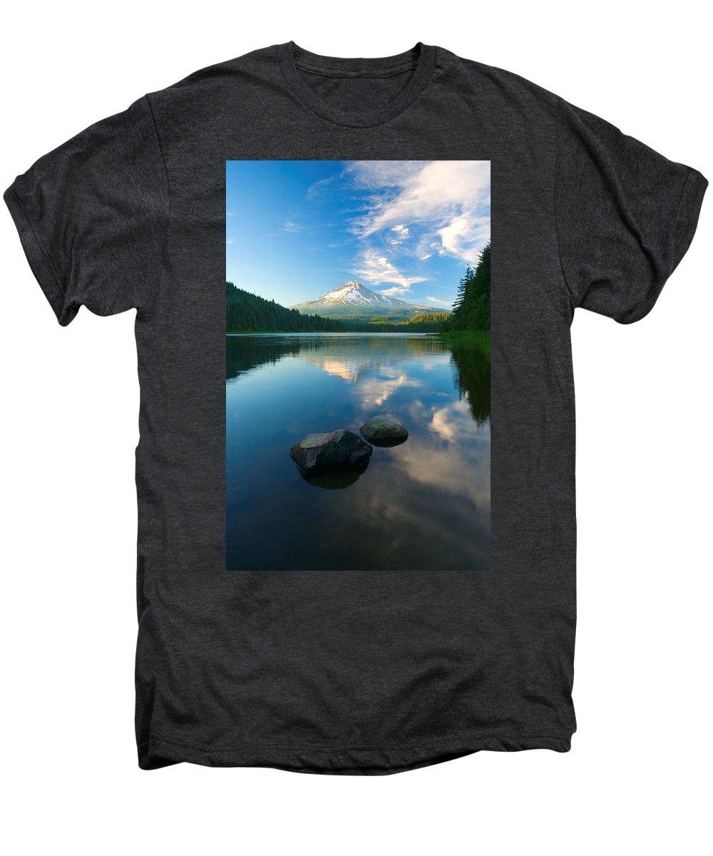 Mt. Hood Men's Premium T-Shirt featuring the photograph Mt. Hood Cirrus Explosion by Mike Dawson